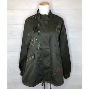 H&M Olive Green Studded Military Jacket